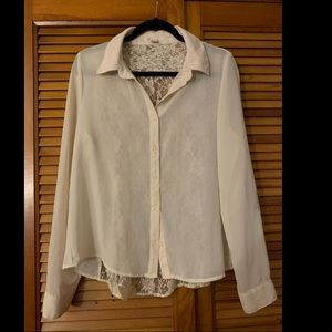 Forever 21 Cream Blouse with Lace Back Size Large
